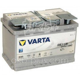 Аккумулятор 6СТ-70A VARTA Silver Dynamic Start-Stop Plus AGM E39 (570901076),12V,70Ah (-/+) Варта, 12В, 70Ач, EN760А