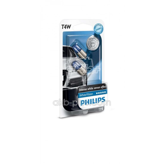 Лампа накаливания Philips T4W WhiteVision, 2шт/блистер - купить