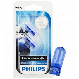 Лампа накаливания Philips W5W BlueVision, 2шт/блистер